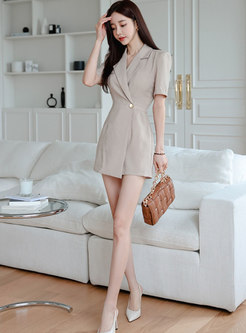 Brief Notched Short Sleeve High Waisted Rompers