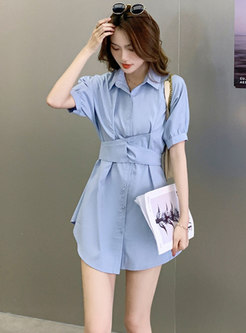 Blue Turn-Down Collar Irregular Top Mini Pant Suits