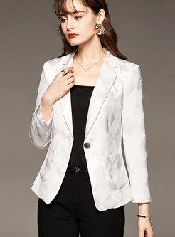 Stylish Jacquard Long Sleeve Blazer