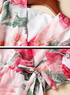 Flower Print V-Neck Top Wide Pant Suits
