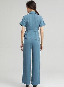 Brief V-Neck Split Top Straight Pant Suits