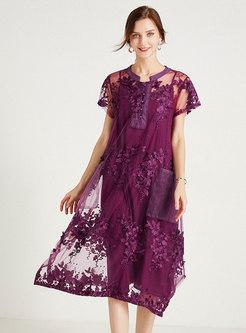 Vintage Embroidered Pocket Organza Dress