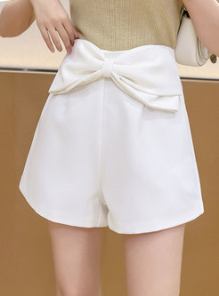 Solid High Waisted Cute Bowknot Shorts