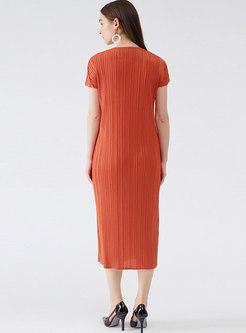 Casual V-neck Short Sleeve Shift Midi Dress