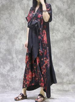 Retro V-neck Plus Size Print A Line Dress