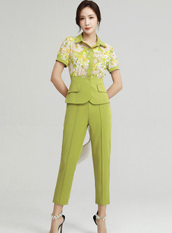 Turn-down Collar Print Patchwork Pant Suits