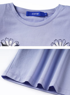 Purple Crew Neck Sleeveless Print T-Shirt