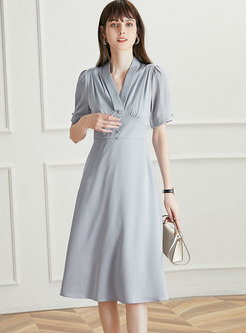 V-neck Ruched High Waisted A Line Midi Dress