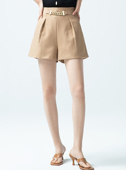Casual High Waisted Wide Leg Hot Pants