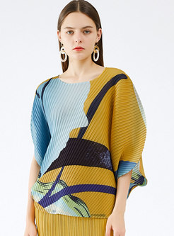 Crew Neck Pullover Print Pleated T-shirt