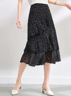 Black High Waisted Print Chiffon Midi Skirt