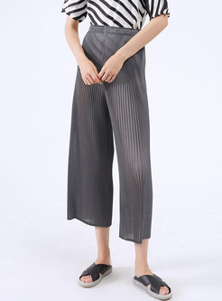 High Waisted Pleated Wide Leg Cropped Pants