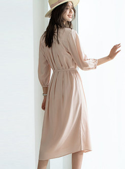 V-neck Lantern Sleeve A Line Chiffon Dress
