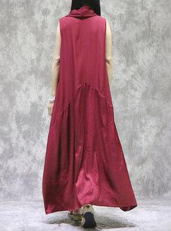 Plus Size Cowl Neck Sleeveless Shift Maxi Dress