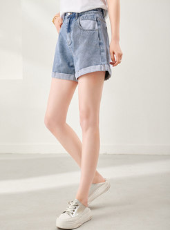 High Waisted Straight Denim Hot Pants