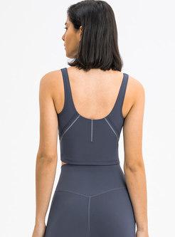 Scoop Neck Pullover Sport Fitness Top