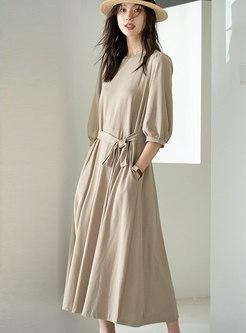 Casual Crew Neck 3/4 Sleeve Midi Dress