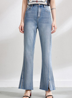 Chic High Waisted Split Flare Jeans