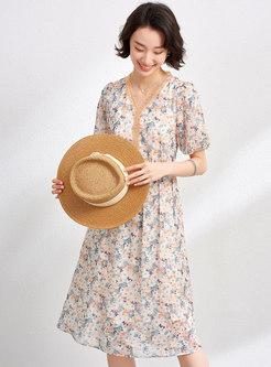 Floral V-Neck Puff Sleeve Chiffon Dress