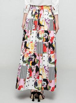 Elegant Plaid Print Maxi Skirts