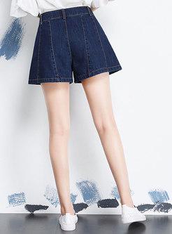 High Waisted Denim A Line Shorts