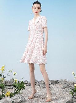 Turn-Down Collar Print Short Sleeve Skater Dress