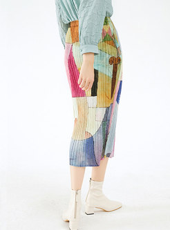 High Waisted Print Pleated Sheath Skirt
