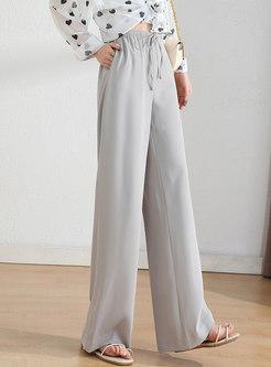 Brief High Waisted Drawstring Wide Leg Pants