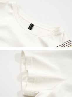 Brief Print Knot T-Shirt Harem Pant Suits