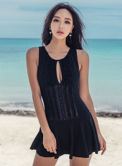 Cut Out Front Backless One Piece Swimwear