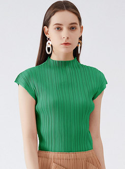 Solid Mock Neck Cap Sleeve Pleated T-Shirt