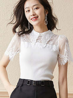 Mock Neck Lace Patchwork Knitted Top