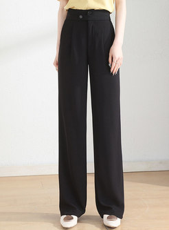 Solid Button Closure Loose Straight Pants