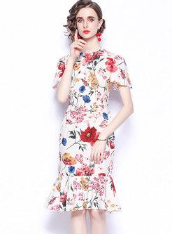 Flower Print Sheath Peplum Dress