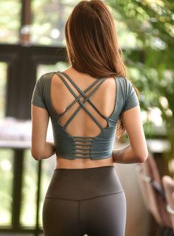 Scoop Neck Backless Yoga Crop Top