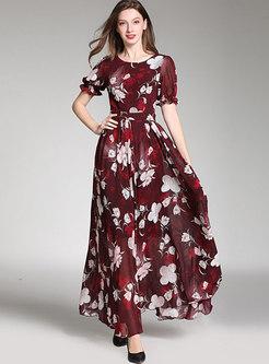 Boho Crew Neck Print Chiffon Big Hem Maxi Dress