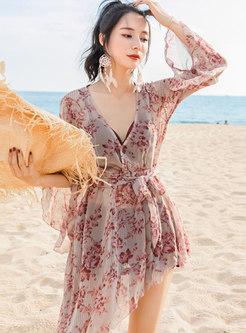 V-neck Long Sleeve Print Cover-up Swimwear