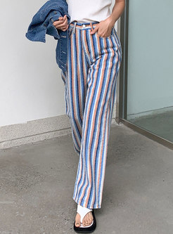 High Waisted Color-blocked Striped Straight Jeans