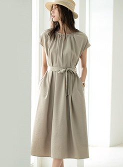 Solid Crew Neck Wrap Casual A Line Dress