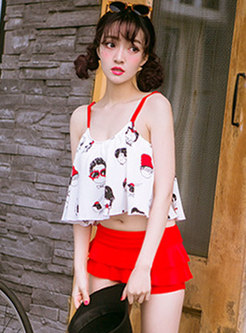 Sexy Scoop Neck Print High Waisted Tankini