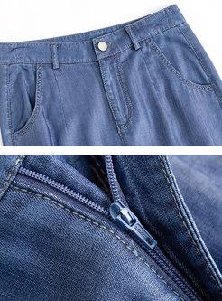 Deep Blue High Waisted Ankle-Tied Harem Pants
