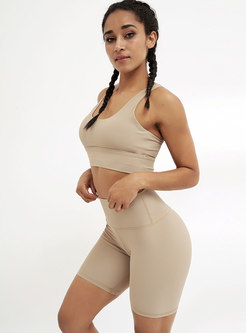 Scoop Neck High Waisted Tight Yoga Tracksuit