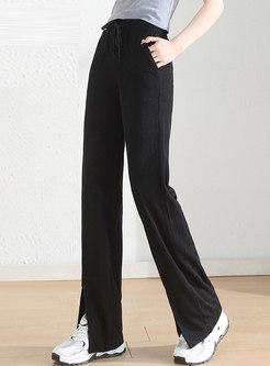 Casual High Waisted Drawstring Split Straight Pants