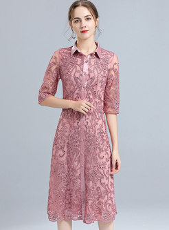 Plus Size Half Sleeve Embroidered Cocktail Dress