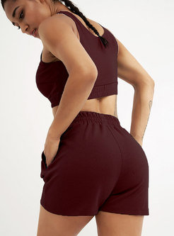 Casual Scoop Neck High Waisted Drawstring Tracksuit