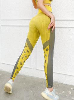 Color-blocked High Waisted Print Yoga Pants