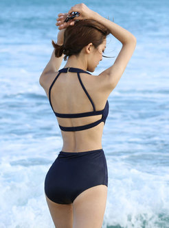 Black Halter Neck Backless Sexy One Piece Swimwear