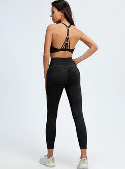 Sexy Cage Neck Openwork Bra & Tight Yoga Pants