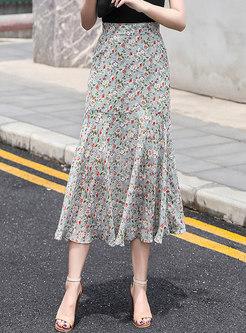 High Waisted Floral Chiffon Peplum Maxi Skirt