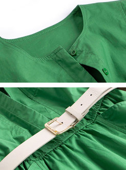 Green Crew Neck Belted Skater Dress